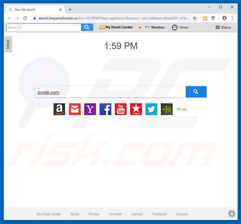 search.hmyemailcenter.co Browser-Hijacker